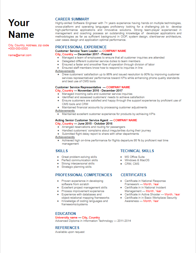 chronological_resume_example