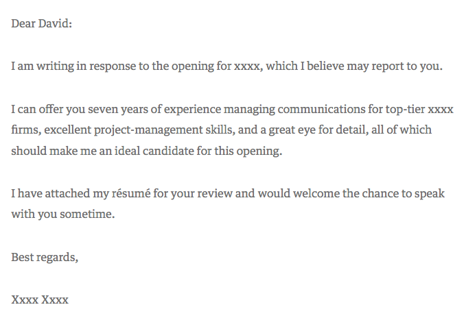 a great cover letter for a resume
