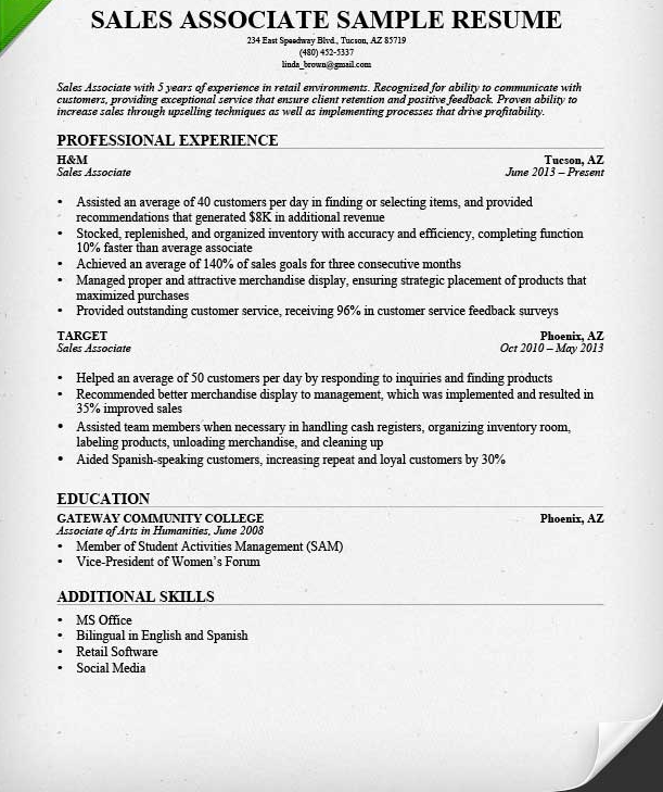 Sales Resume Example Photo